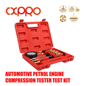 Cxpro Petrol Engine Cylinder Compression Tester Automotive Tool Gauge Kit 8pc