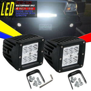 2x 18w Led Work Lights Pods Spot Offroad Lamp For Hummer Subaru Ford Ranger 4wd