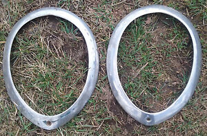 1937 38 39 Ford Headlight Ring Trim Bezel Pair Oem