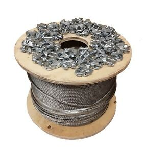 7 X 19 Galvanized Aircraft Cable Wire Rope 3 8 200 Ft With Cable Clamps Clips