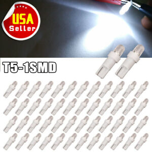 50x White T5 1 Smd Led Instrument Panel Cluster Dash Light Bulbs 73 74 2721 12v