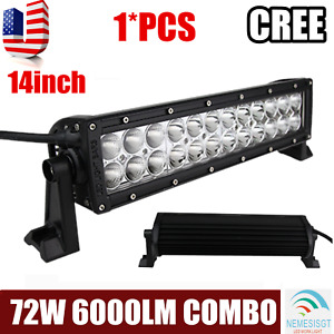 14 In 72w Led Work Light Bar Combo For Jeep Boat Offroad 4wd Atv Truck Screws