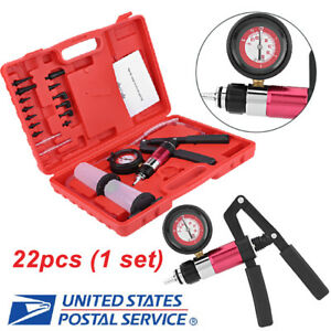 Auto Hand Held Vacuum Pressure Pump Tester Kit Car Brake Fluid Bleeder Kit Us