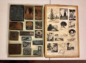 Vintage Printing Blocks Cuts Complete Set Series outdoor Scenes And Maps Rare