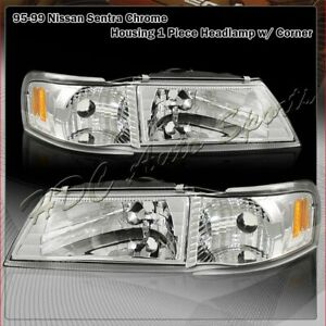 For 1995 1999 Nissan Sentra 200sx 1 Piece Chrome Headlights W Amber Reflector