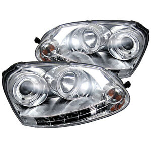 Volkswagen 06 09 Gti jetta rabbit Chrome Dual Halo Led Projector Headlights