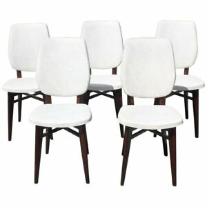 Beautiful Set Of Five French Art Deco Solid Mahogany Dining Chairs Circa 1940s