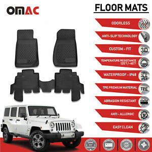 Jeep Wrangler Jk 4 Doors Floor Mats Liner 3d Molded Black Interior 2007 2018