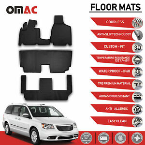 Floor Mats Liner 3d Molded Black For 7 Seat Chrysler Town Country 2008 2016