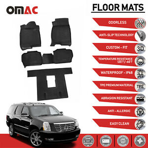 Floor Mats Liner 3d Molded Black Fits 3 Row Cadillac Escalade 2007 2014