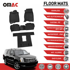 Floor Mats Liner 3d Molded Black Fits 3 Row Cadillac Escalade 2006 2014