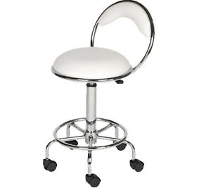 White Stool Back Support Foot Rest Dentist Doctor Medical Office Salon Equipment