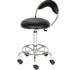 Adjustable Black Back Stool Dentist Doctor Medical Spa Manicure Salon Equipment