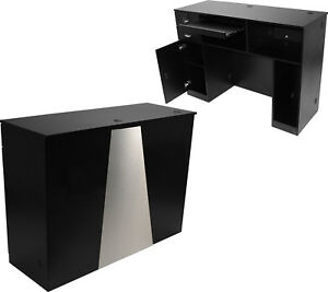 Extra Large Black Reception Computer Desk Locking Drawer Salon Beauty Equipment