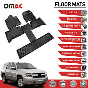 Floor Mat Liner 3d Molded Black For Chevrolet Tahoe 7 Seats 2007 2014
