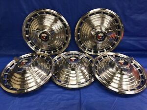 Vintage Set Of 5 1963 Ford 14 Spinner Hubcaps Galaxie 500 Fairlane Falcon Gc