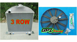3row Aluminum Radiator Fan For 28 31 Ford Model A Chevy Engine 29 30 31