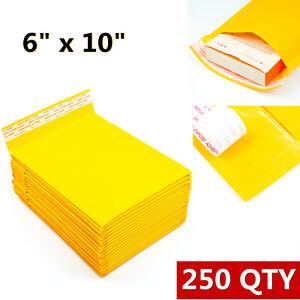 250pcs 0 6x10 Inches Padded Envelopes Bubble Mailers Self Seal Shipping Bags