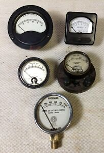 5 Lot Antq Gauges Jewel Pattern Simpson Weston Roller Smith Rochester Steampunk