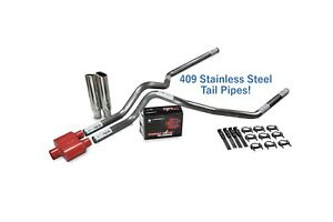 Chevy Gmc 1500 99 06 2 5 Stainless Dual Exhaust Kit Cherry Bomb Extreme Clp Tip