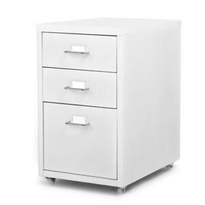 3 Drawer Metal Detachable Mobile Filing Cabinet Home Office W Caster White J1o1