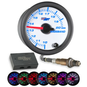 Glowshift White 7 Color Needle Wideband Air fuel Ratio Afr Gauge W Data Logging