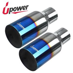 Pair Vacuum Blue Exhaust Tip Single Wall Straight Cut Ss 2 5 Inlet 4 Outlet 9 L