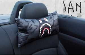 1pc Bape Camo Shark Mouth Car Seat Head Neck Rest Pillow Cushion Pad Headrest