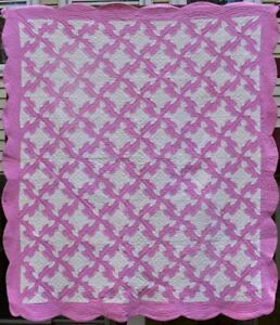 Antique Hand Quilted Cotton Quilt Pink White Drunkard S Path Bordered 18431