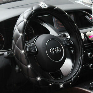 Car Steering Wheel Cover 15 Deluxe Pu Leather Bling Diamond Crown For Girl Lady