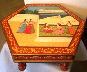 Low Small Cocktail Coffee Side End Accent Table Hand Painted Beautiful Red Wood