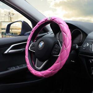 Luxury Pink Car Steering Wheel Cover 38cm 15 Crown bling Diamond For Girl Lady
