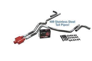 Chevy Gmc 1500 99 06 2 5 Stainless Dual Exhaust Kit Cherry Bomb Extreme Side