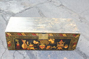 Large Vintage India Wood Storage Trunk Chest Colorful Painted Designs