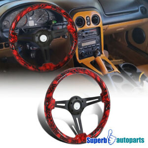 Universal 2 Black And Red Skulls 350mm Sport Racing Wooden Steering Wheel 1pc