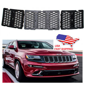 Front Grill Honeycomb Mesh Grille Inserts Cover For Jeep Grand Cherokee 2014 16