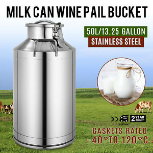 50l 13 25 Gallon Stainless Steel Milk Can Home Garden Wine Pail Jug Pot