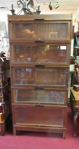 Vintage Globe Wernicke 5 Stack Barrister Lawyers Bookcase W Base