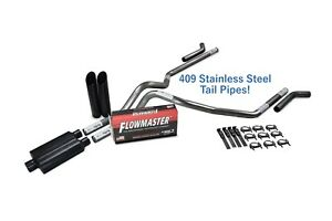 Chevy Gmc 1500 15 18 2 5 Stainless Dual Exhaust Kit Flowmaster 40 Black Corner