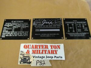 Jeep Willys Cj2a 1945 46 Data Plate Set For Dash P82