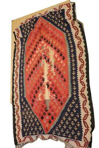 36 X 69 Vintage Rug Handmade Some Wear Tear Unknown Artist