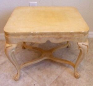 A Vintage Ornate Wood Square Top Hall End Table French Curved Style Legs