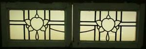 Pair Of Old English Stained Glass Windows Stunning Abstract No Color 20 5 X 13