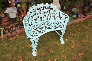 Antique Wrought Iron Garden Bench Seat Scrolled Flowers Seafoam Blue Color Heavy