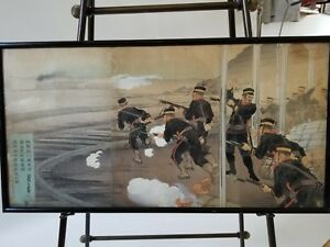Original Old Japanese Woodblock Triptych Soldiers Charging At Red Cross Train