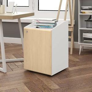 Devaise 2 Drawers Mobile File Cabinet With Lock Under desk Furniture White