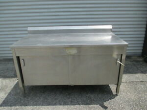 60 Stainless Steel Prep Work Table Bakery Kitchen Counter Dry Storage Cabinet