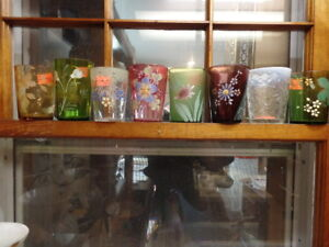 8 Victorian Tumblers Colored Glass And Hand Painted