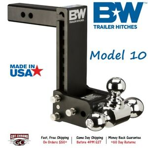 Ts10049b B W 7 Drop Tow Stow Adjustable Tri Ball Mount For 2 Receiver Hitch