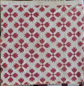 Antique Bear Paw Quilt Double Pink And White Hand Quilted 18434